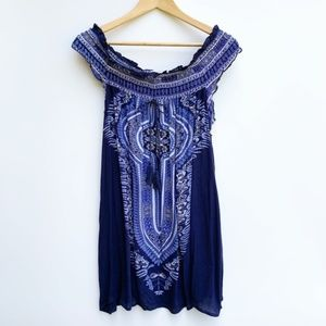 Band Of Gypsies Off Shoulder Blue Dress Size 12